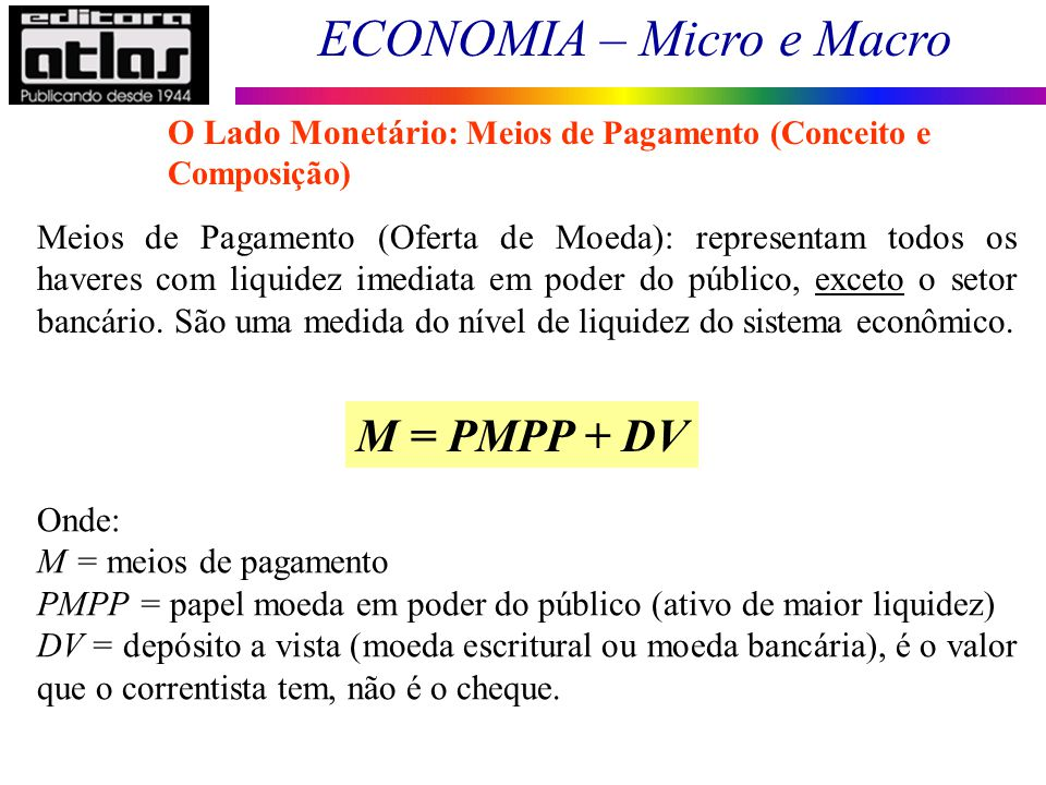 O Lado Monetário: Meios de Pagamento (Conceito e Composição)