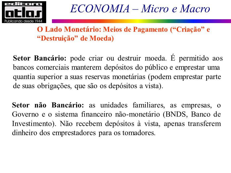 O Lado Monetário: Meios de Pagamento ( Criação e Destruição de Moeda)