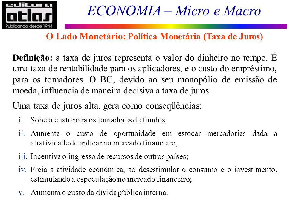 O Lado Monetário: Política Monetária (Taxa de Juros)