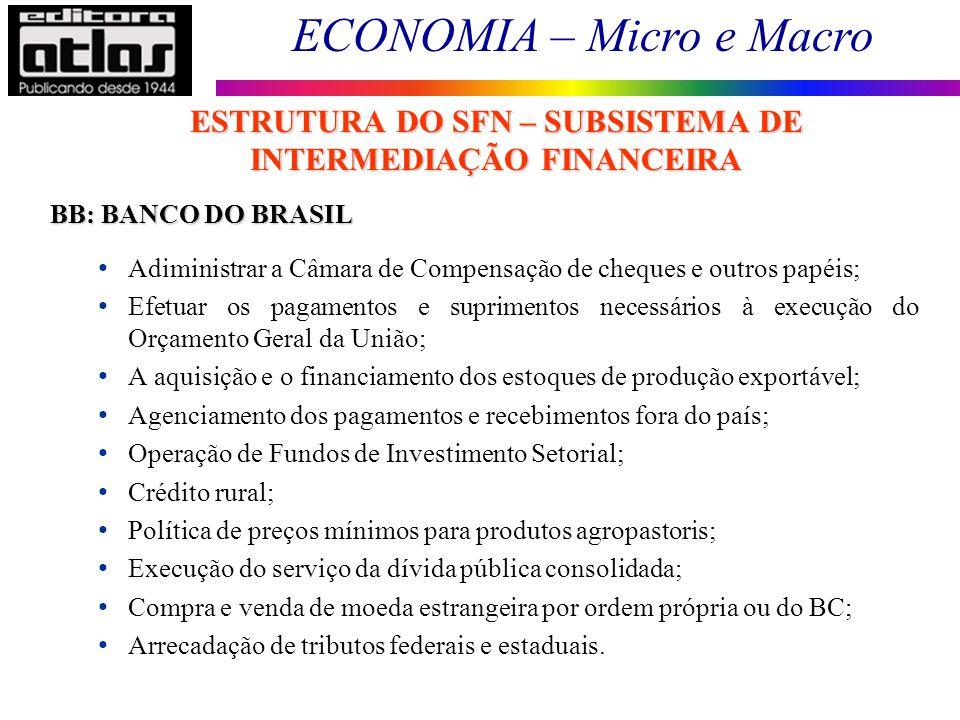 ESTRUTURA DO SFN – SUBSISTEMA DE INTERMEDIAÇÃO FINANCEIRA