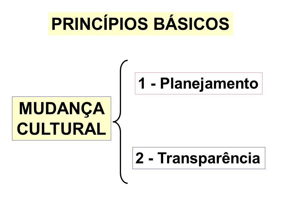 PRINCÍPIOS BÁSICOS 1 - Planejamento MUDANÇA CULTURAL 2 - Transparência