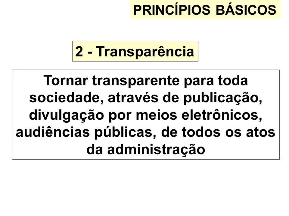 PRINCÍPIOS BÁSICOS 2 - Transparência.
