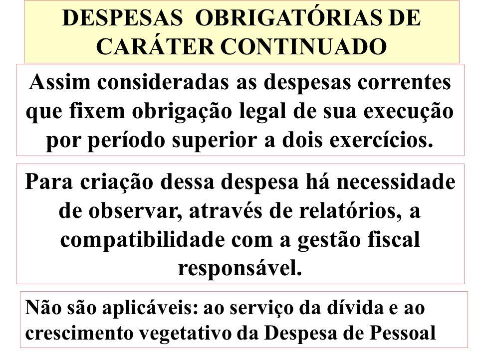 DESPESAS OBRIGATÓRIAS DE CARÁTER CONTINUADO