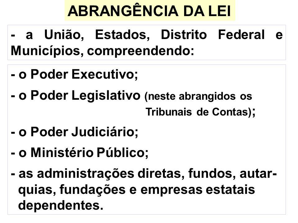 ABRANGÊNCIA DA LEI - a União, Estados, Distrito Federal e Municípios, compreendendo: - o Poder Executivo;