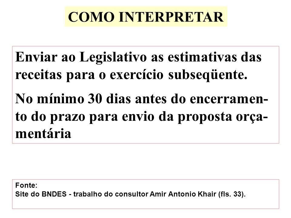 COMO INTERPRETAR Enviar ao Legislativo as estimativas das receitas para o exercício subseqüente.
