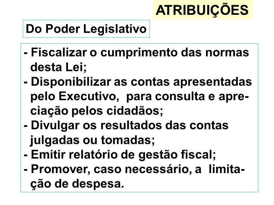 ATRIBUIÇÕES Do Poder Legislativo - Fiscalizar o cumprimento das normas