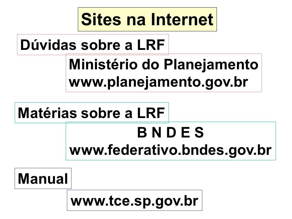 Sites na Internet Dúvidas sobre a LRF Ministério do Planejamento