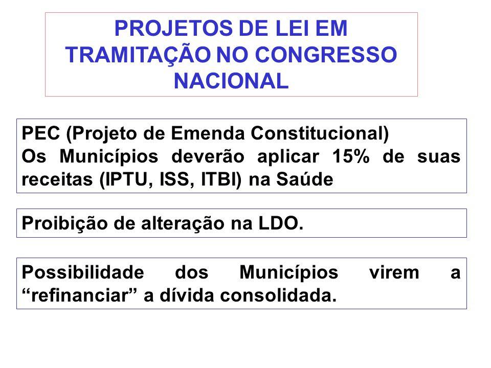 PROJETOS DE LEI EM TRAMITAÇÃO NO CONGRESSO NACIONAL