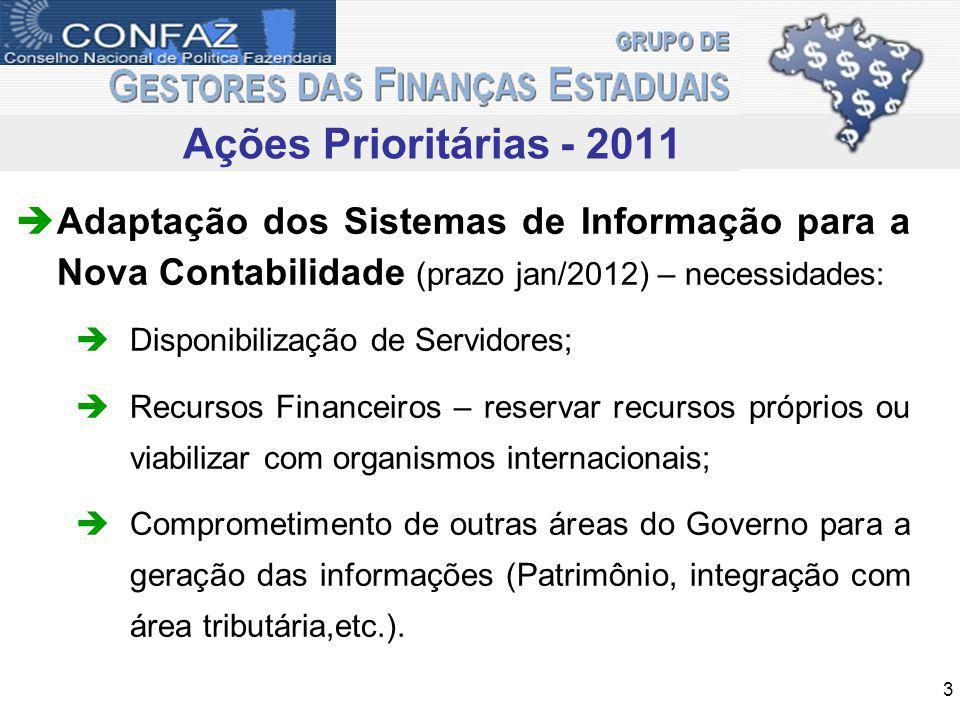 Ações Prioritárias - 2011 Adaptação dos Sistemas de Informação para a Nova Contabilidade (prazo jan/2012) – necessidades: