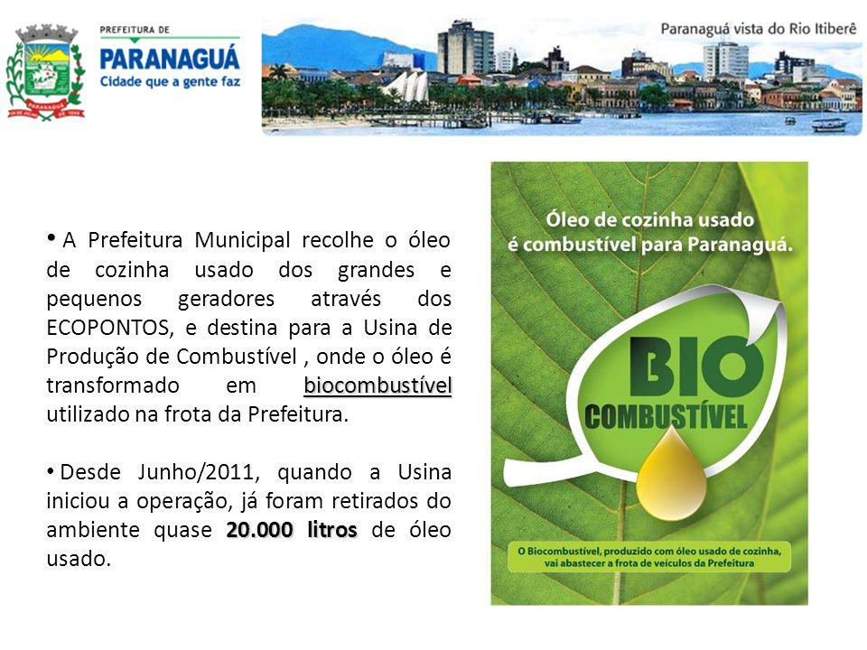 A Prefeitura Municipal recolhe o óleo de cozinha usado dos grandes e pequenos geradores através dos ECOPONTOS, e destina para a Usina de Produção de Combustível , onde o óleo é transformado em biocombustível utilizado na frota da Prefeitura.