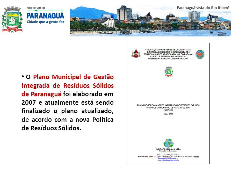 O Plano Municipal de Gestão Integrada de Resíduos Sólidos de Paranaguá foi elaborado em 2007 e atualmente está sendo finalizado o plano atualizado, de acordo com a nova Política de Resíduos Sólidos.