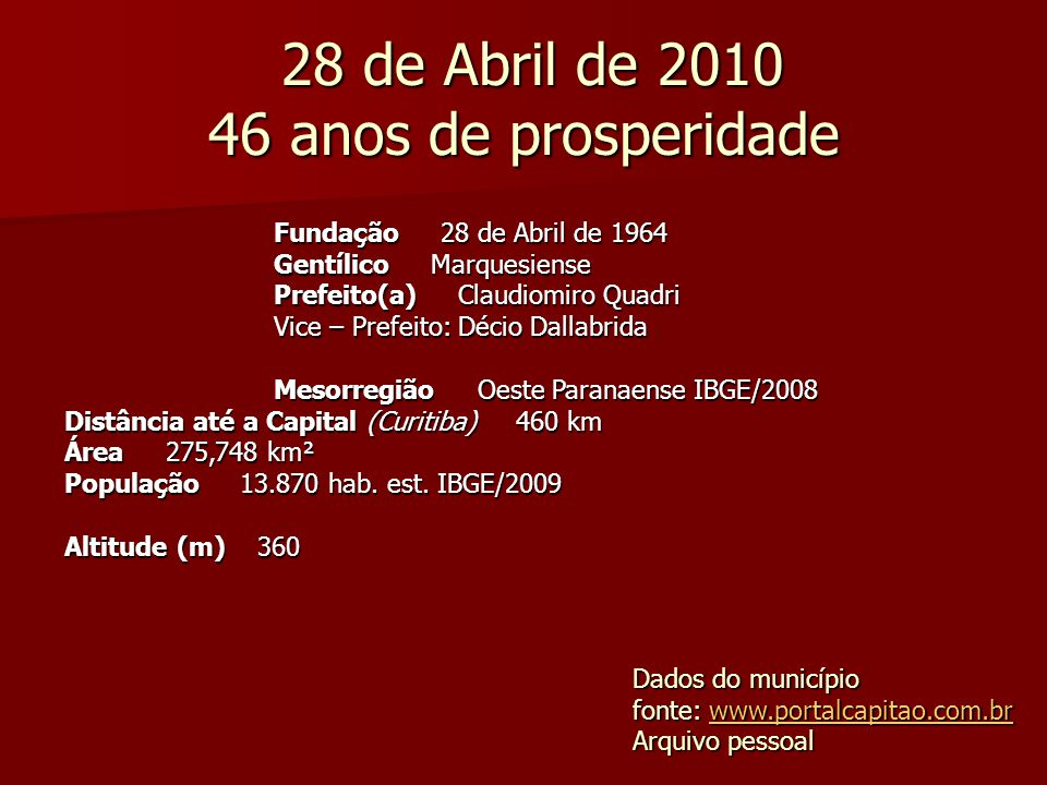 28 de Abril de 2010 46 anos de prosperidade