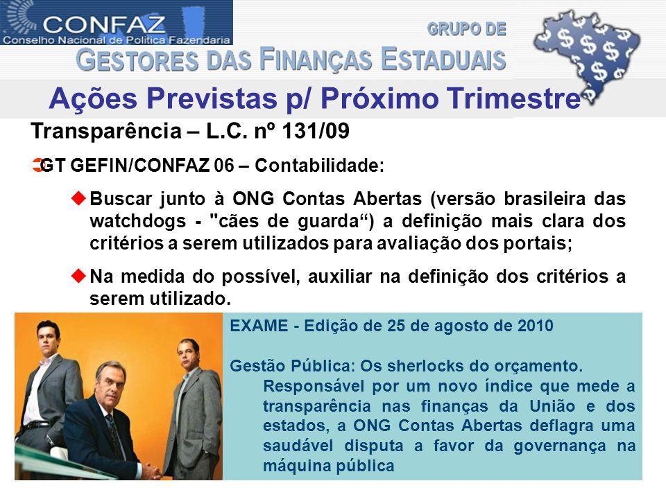 Ações Previstas p/ Próximo Trimestre