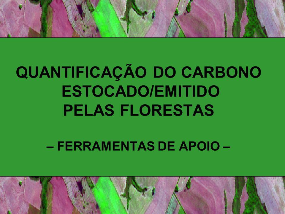 QUANTIFICAÇÃO DO CARBONO ESTOCADO/EMITIDO PELAS FLORESTAS – FERRAMENTAS DE APOIO –