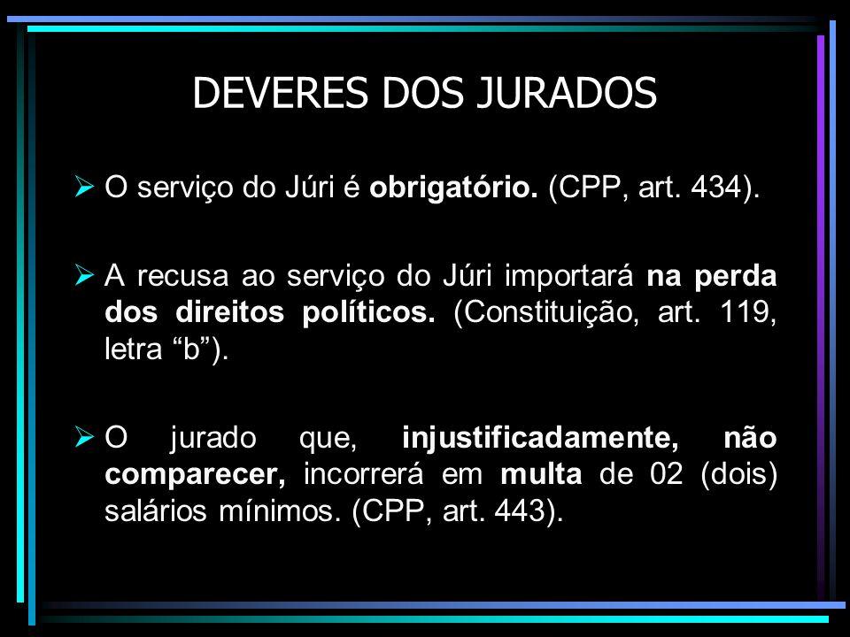 DEVERES DOS JURADOS O serviço do Júri é obrigatório. (CPP, art. 434).