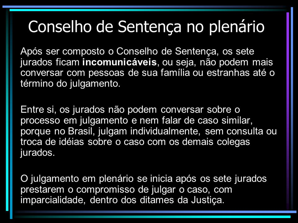 Conselho de Sentença no plenário