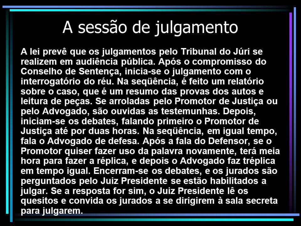 A sessão de julgamento