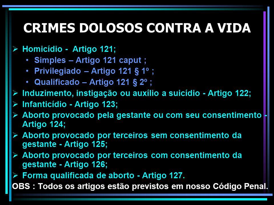 CRIMES DOLOSOS CONTRA A VIDA