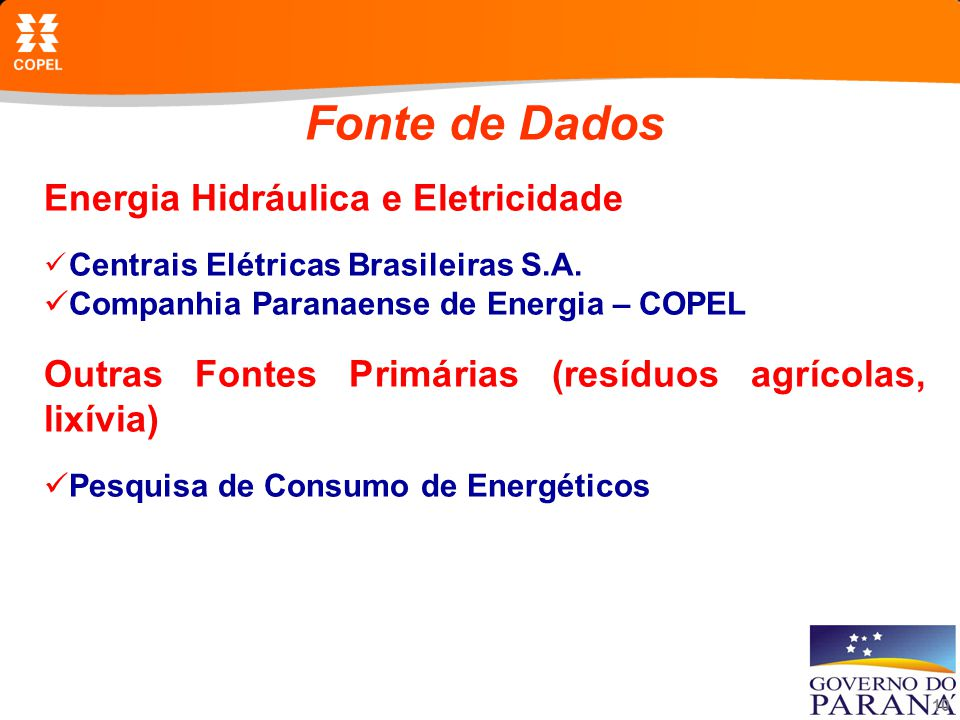 Fonte de Dados Energia Hidráulica e Eletricidade