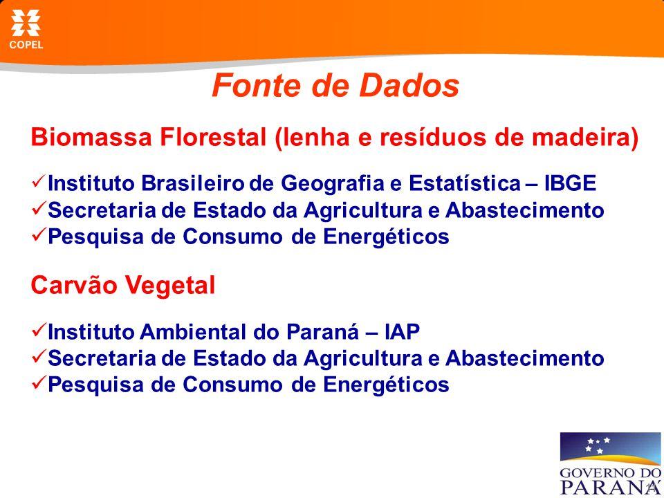 Fonte de Dados Biomassa Florestal (lenha e resíduos de madeira)