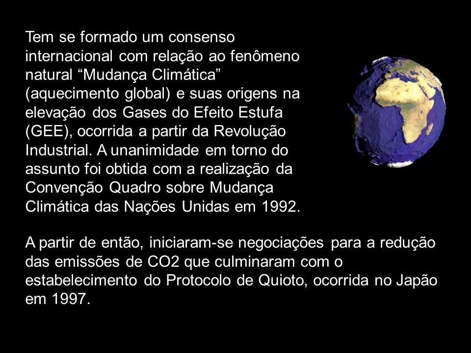 Tem se formado um consenso internacional com relação ao fenômeno natural Mudança Climática (aquecimento global) e suas origens na elevação dos Gases do Efeito Estufa (GEE), ocorrida a partir da Revolução Industrial. A unanimidade em torno do assunto foi obtida com a realização da Convenção Quadro sobre Mudança Climática das Nações Unidas em 1992.