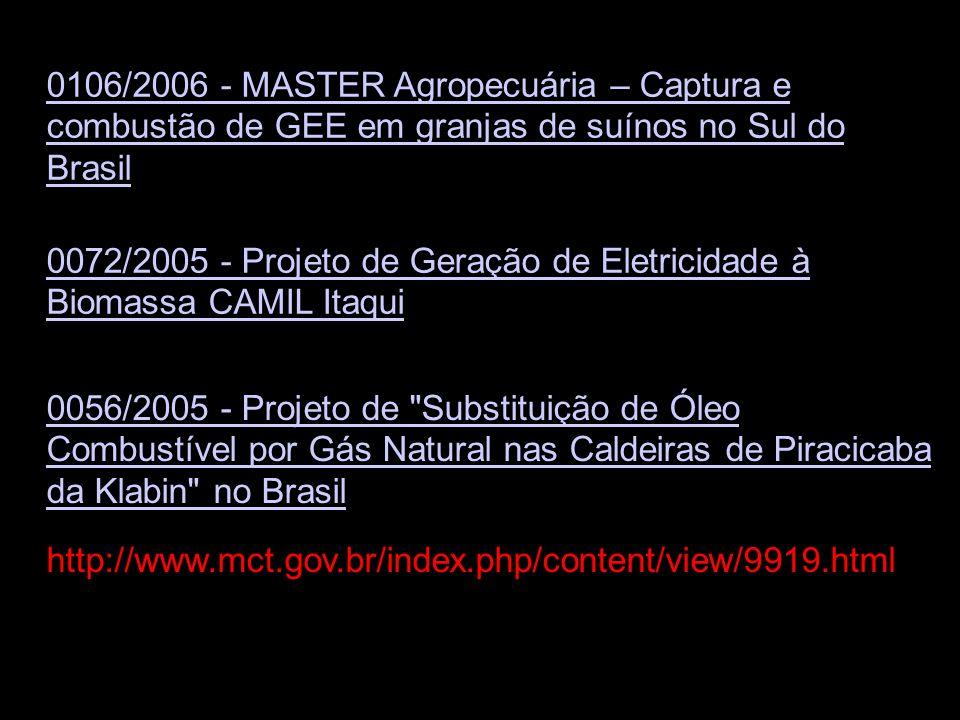 0106/2006 - MASTER Agropecuária – Captura e combustão de GEE em granjas de suínos no Sul do Brasil
