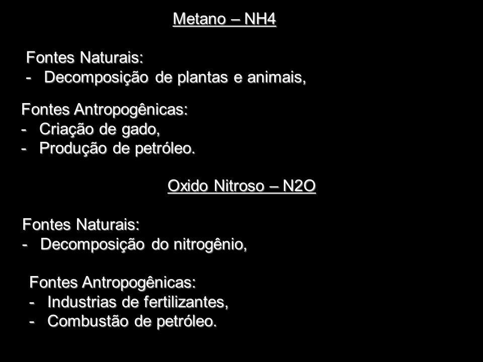 Metano – NH4 Fontes Naturais: Decomposição de plantas e animais, Fontes Antropogênicas: Criação de gado,
