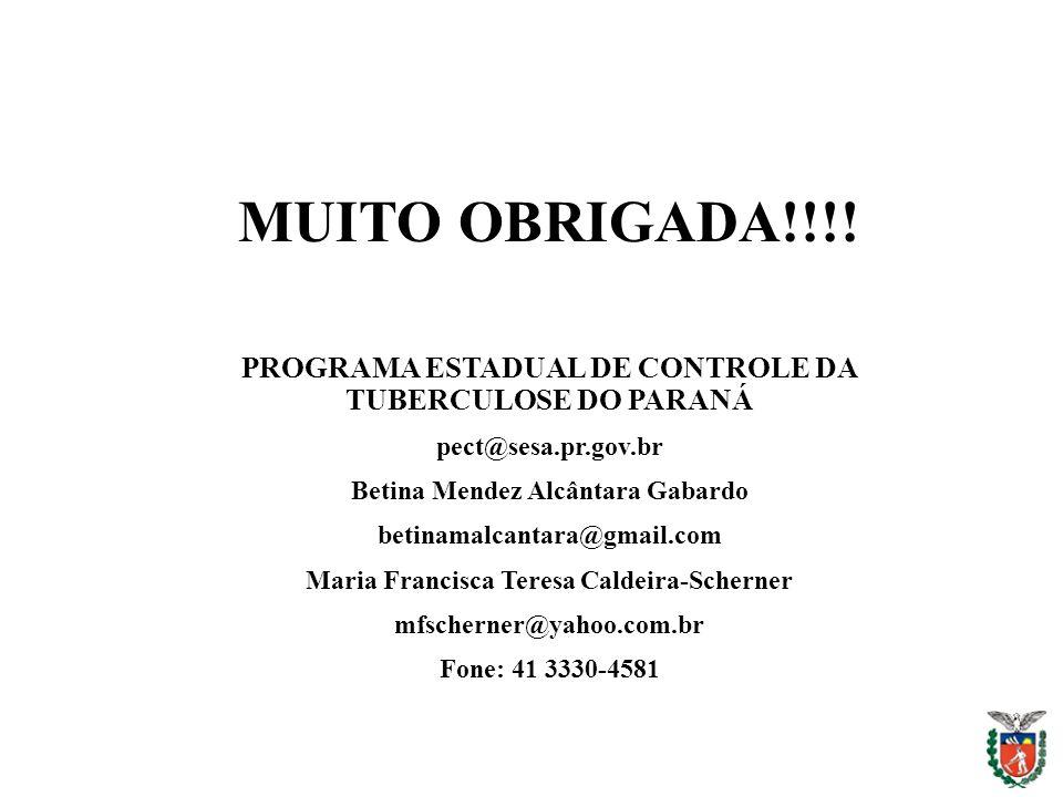 MUITO OBRIGADA!!!! PROGRAMA ESTADUAL DE CONTROLE DA TUBERCULOSE DO PARANÁ. pect@sesa.pr.gov.br. Betina Mendez Alcântara Gabardo.