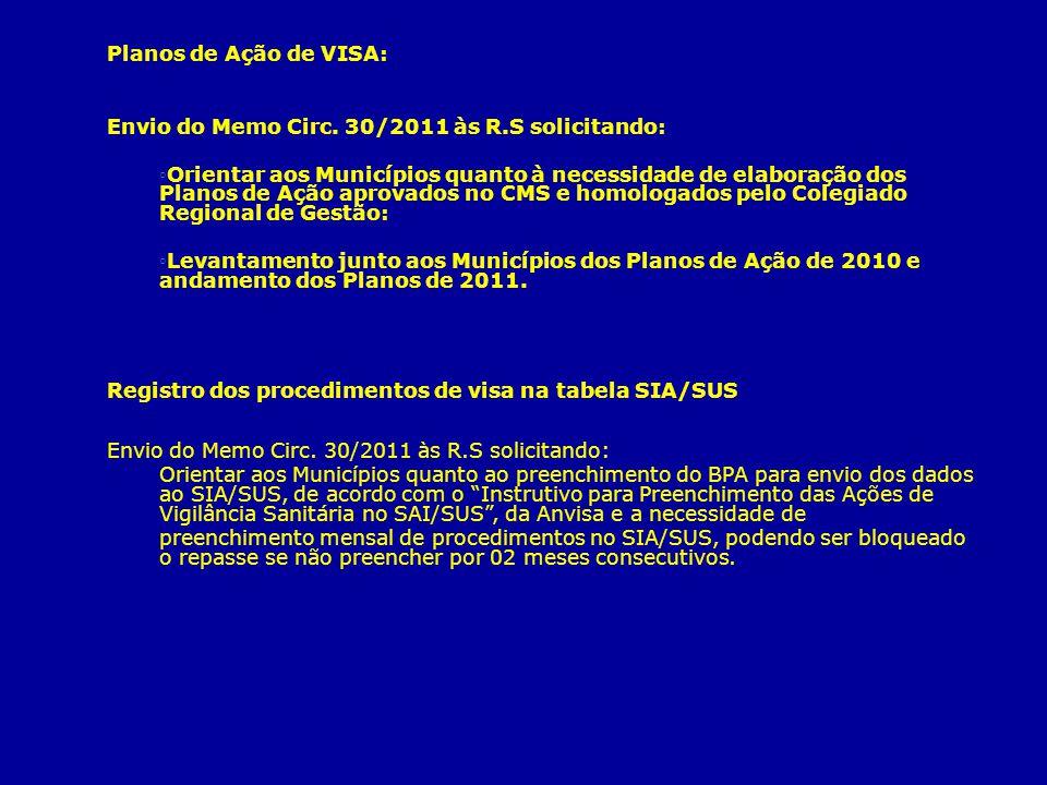Planos de Ação de VISA: Envio do Memo Circ. 30/2011 às R.S solicitando: