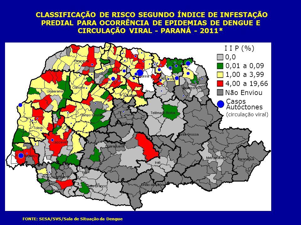 CLASSIFICAÇÃO DE RISCO SEGUNDO ÍNDICE DE INFESTAÇÃO PREDIAL PARA OCORRÊNCIA DE EPIDEMIAS DE DENGUE E CIRCULAÇÃO VIRAL - PARANÁ - 2011*