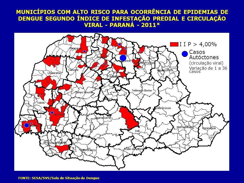 MUNICÍPIOS COM ALTO RISCO PARA OCORRÊNCIA DE EPIDEMIAS DE DENGUE SEGUNDO ÍNDICE DE INFESTAÇÃO PREDIAL E CIRCULAÇÃO VIRAL - PARANÁ - 2011*