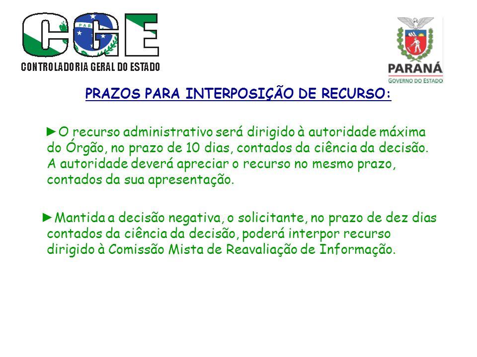 PRAZOS PARA INTERPOSIÇÃO DE RECURSO: