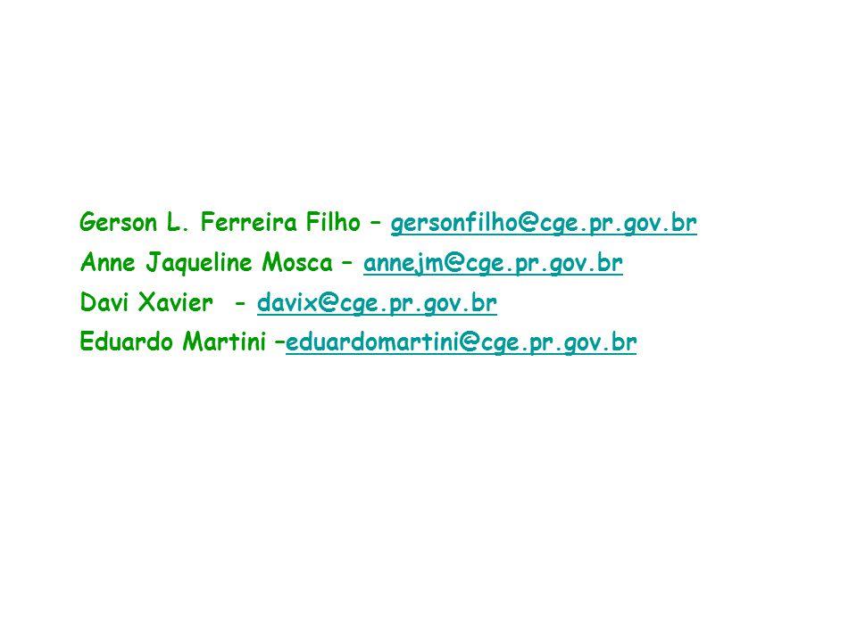 Gerson L. Ferreira Filho – gersonfilho@cge.pr.gov.br