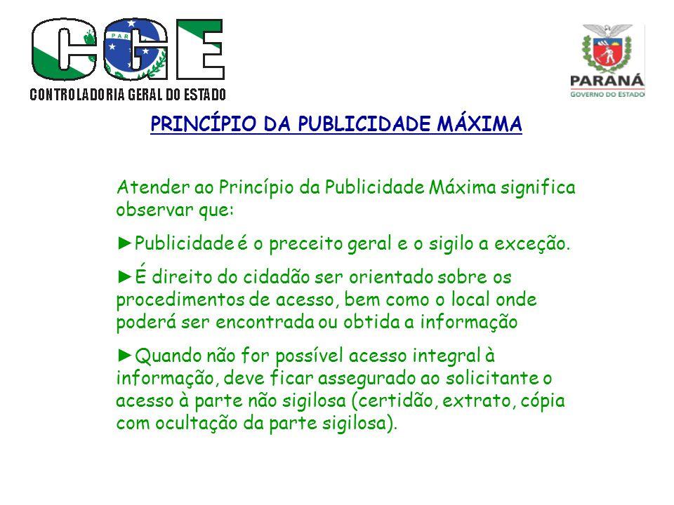 PRINCÍPIO DA PUBLICIDADE MÁXIMA