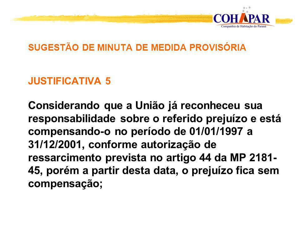 SUGESTÃO DE MINUTA DE MEDIDA PROVISÓRIA JUSTIFICATIVA 5 Considerando que a União já reconheceu sua responsabilidade sobre o referido prejuízo e está compensando-o no período de 01/01/1997 a 31/12/2001, conforme autorização de ressarcimento prevista no artigo 44 da MP 2181-45, porém a partir desta data, o prejuízo fica sem compensação;