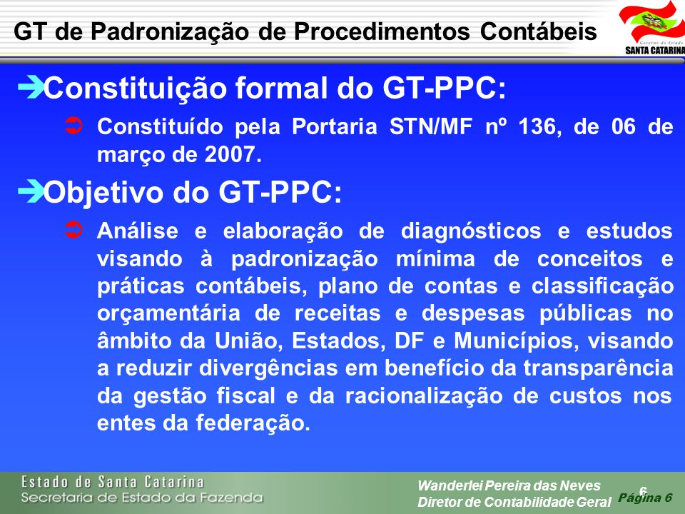 Constituição formal do GT-PPC: