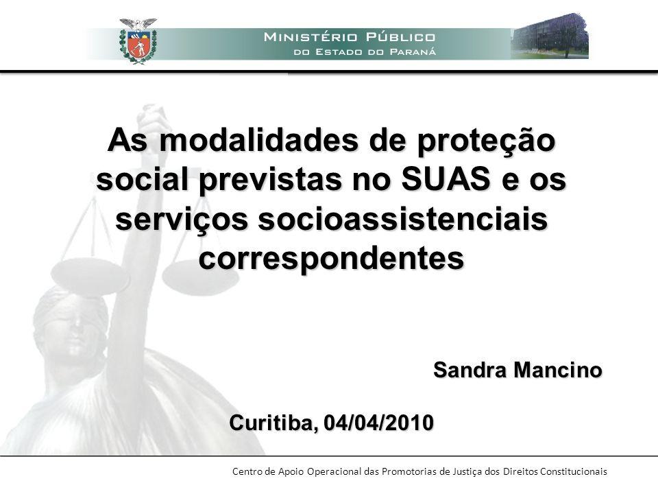 As modalidades de proteção social previstas no SUAS e os serviços socioassistenciais correspondentes