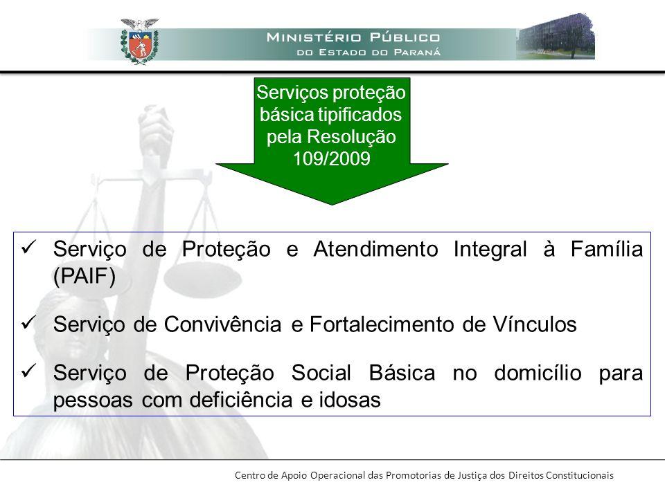 Serviços proteção básica tipificados pela Resolução 109/2009