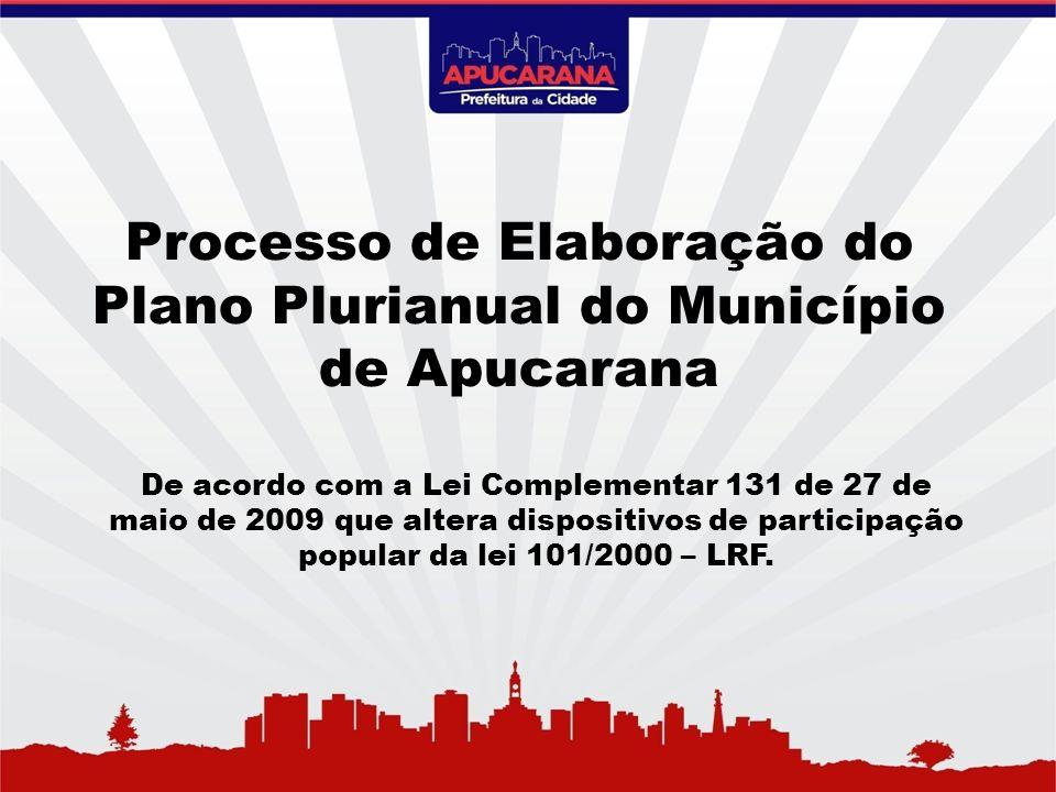 Processo de Elaboração do Plano Plurianual do Município de Apucarana