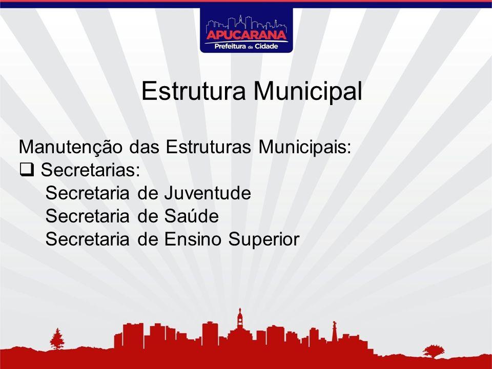 Estrutura Municipal Manutenção das Estruturas Municipais: Secretarias: