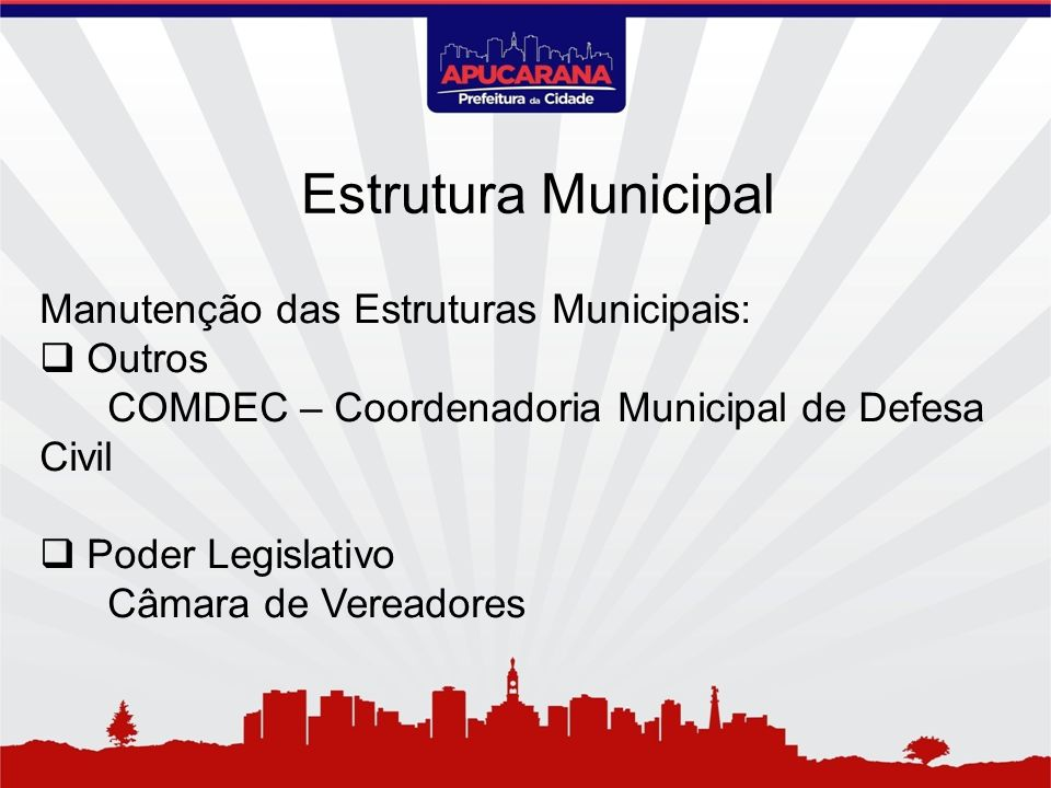 Estrutura Municipal Manutenção das Estruturas Municipais: Outros
