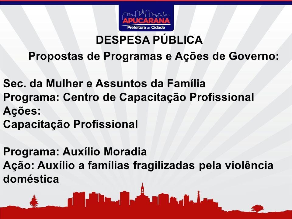 Propostas de Programas e Ações de Governo: