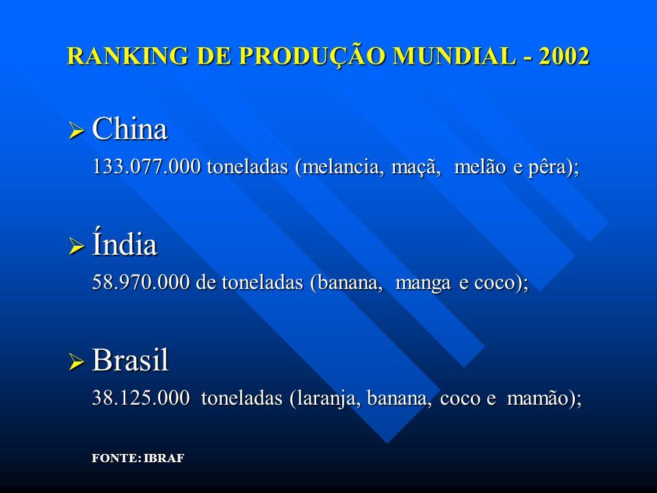 RANKING DE PRODUÇÃO MUNDIAL - 2002