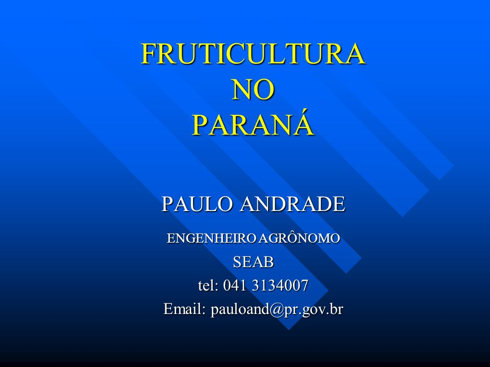 FRUTICULTURA NO PARANÁ