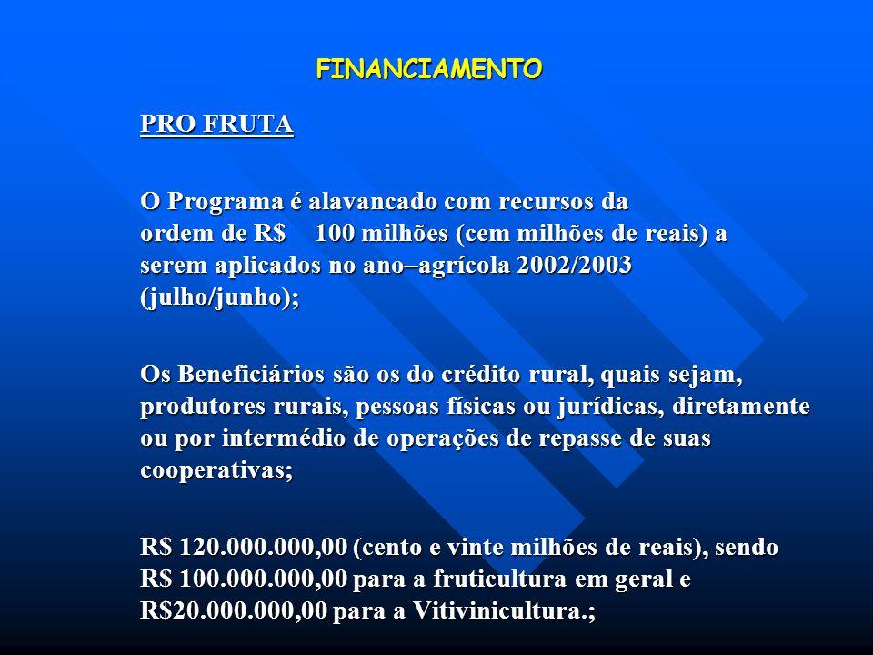 FINANCIAMENTO PRO FRUTA.