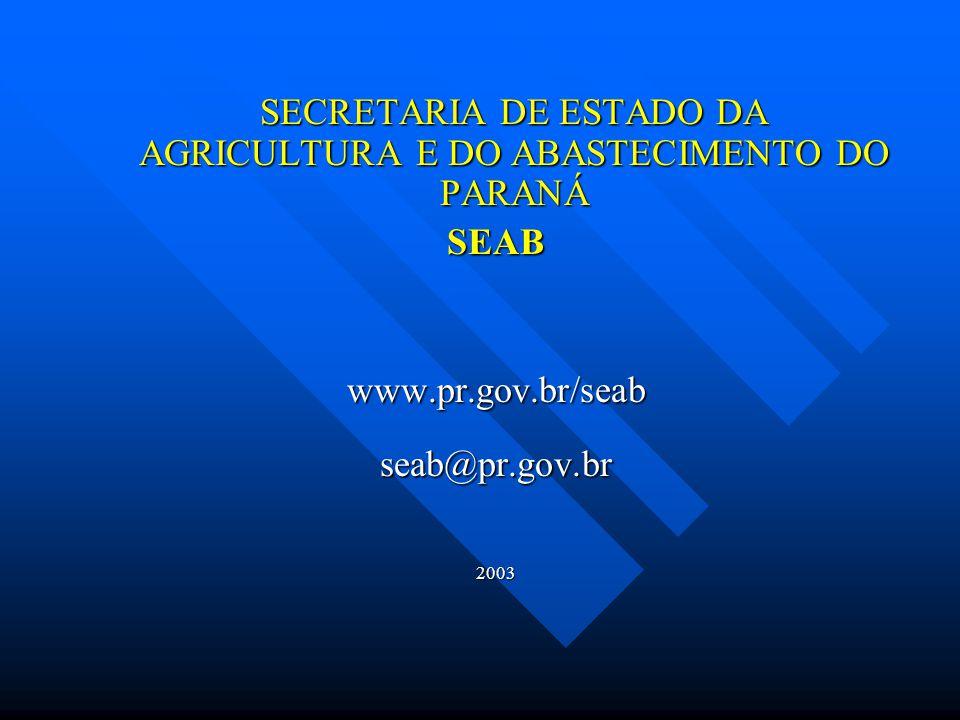 SECRETARIA DE ESTADO DA AGRICULTURA E DO ABASTECIMENTO DO PARANÁ