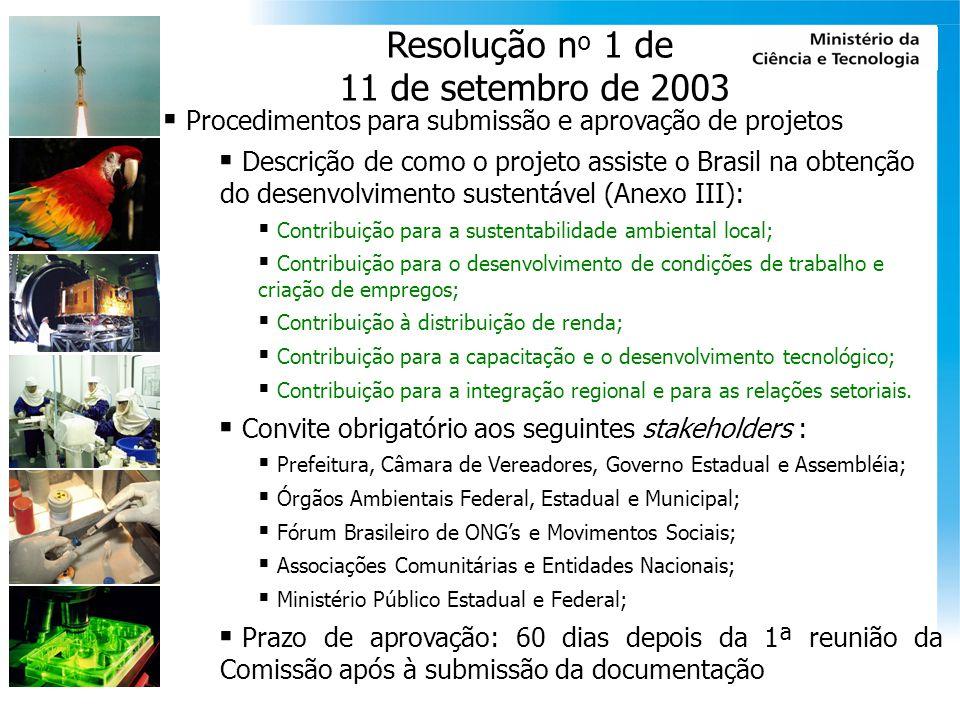 Resolução nº 1 de 11 de setembro de 2003