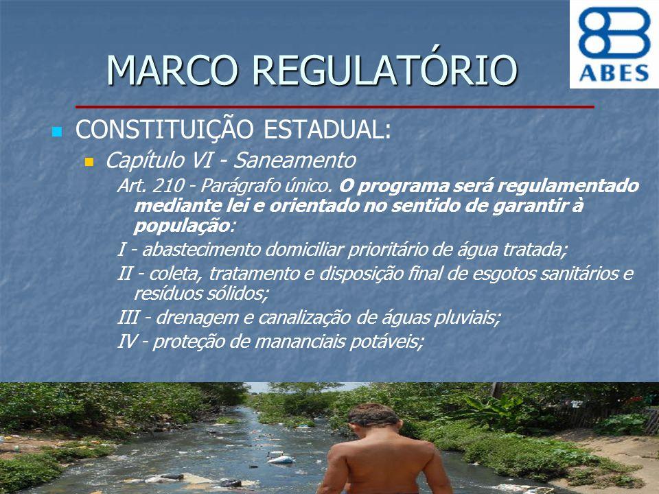MARCO REGULATÓRIO CONSTITUIÇÃO ESTADUAL: Capítulo VI - Saneamento