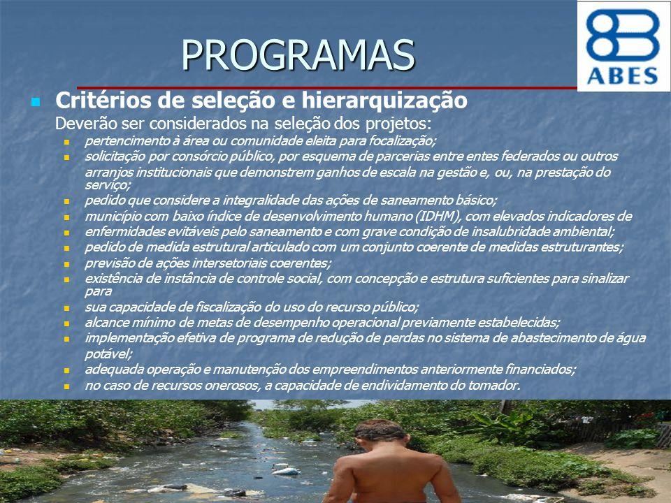 PROGRAMAS Critérios de seleção e hierarquização