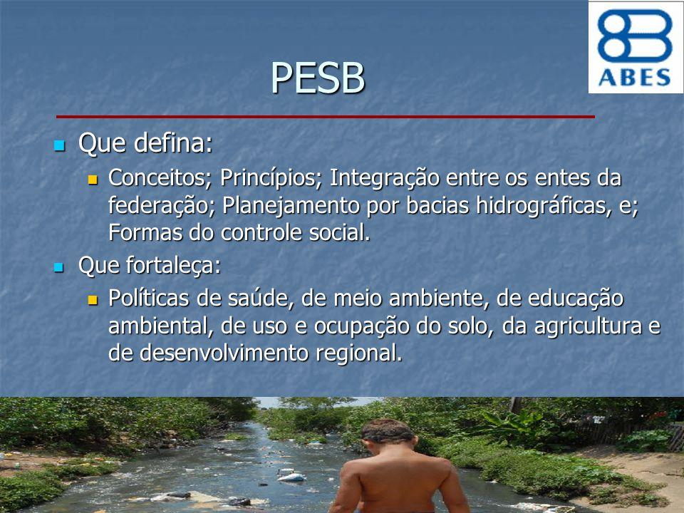 PESB Que defina: Conceitos; Princípios; Integração entre os entes da federação; Planejamento por bacias hidrográficas, e; Formas do controle social.
